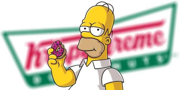 Homer-Simpson-eating-a-donut-in-front-of-the-Krispy-Kreme-logo